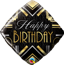'Happy Birthday' Black Art Deco Foil Balloon